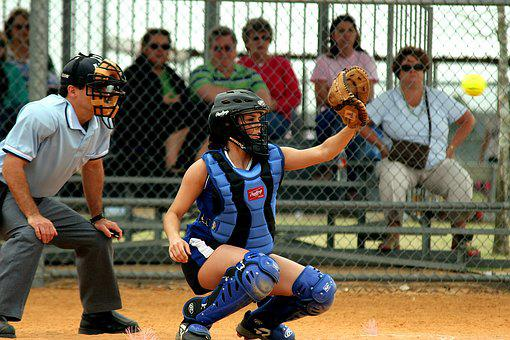 Softball, Catcher, Female, Game, Player, Field
