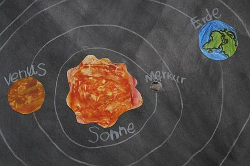 Planet, Chalk Drawing, Celestial Body, School Material