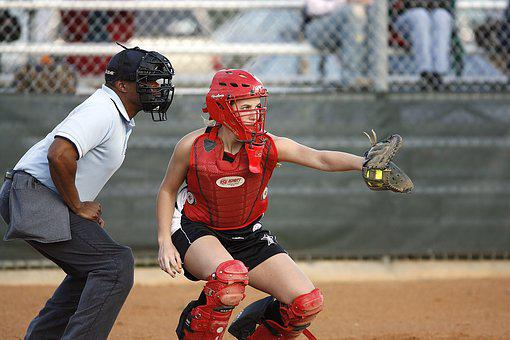 Softball, Catcher, Umpire, Female, Mask, Glove