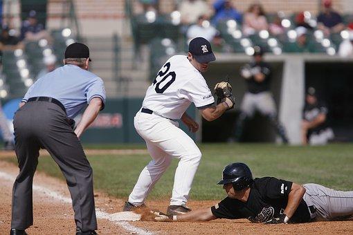 Baseball, Safe At First, First Base, Runner, Action