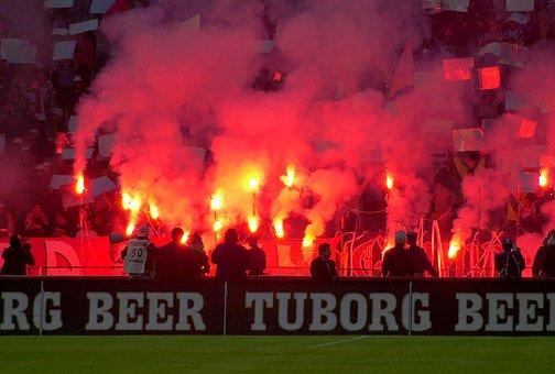Football, Stadium, Red Torch, Flames, Light Show, Fans