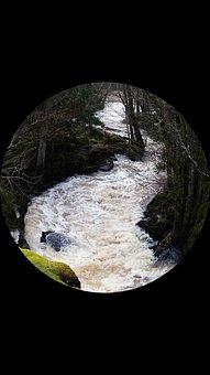 Slumpån, Water, Spring Flood, Forest, Round