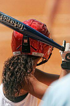 Softball, Player, Girl, Batter, Bat, Helmet, Game
