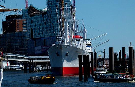 Michel, Hamburg, Port, Elbe, Landungsbrücken