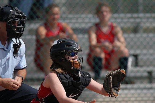 Softball, Catcher, Glove, Mask, Umpire, Spectators