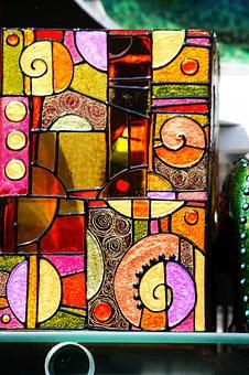 Showcase, Color, Glass, Glass Painting, Sample, Motif