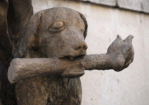 Statue, Czech Budejovice, Dog, Torch, Stone