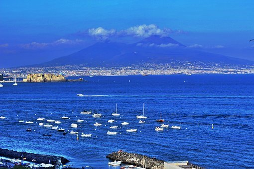 Naples, Sea, Vesuvius, Blue, Marine Landscape, Porto