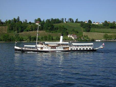 Ship, Lake Constance, Paddle Wheel, Water, Shipping