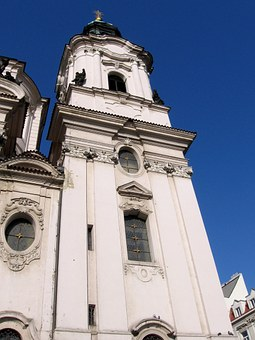 Church, Prague, St, Nicolai, Steeple, Czech Republic