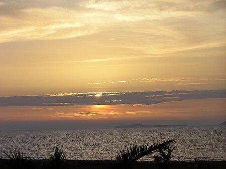 Kos, Greece, Sunset, Evening Sky, Island, Sea