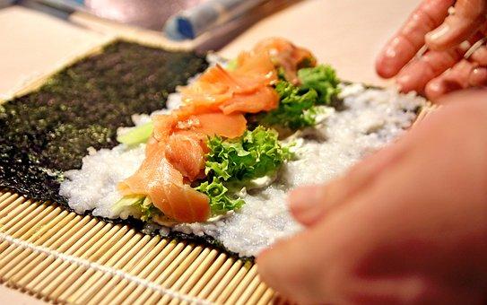 Sushi, Kitchen, Algae, Rice, Salmon, Bamboo Mat, Japan