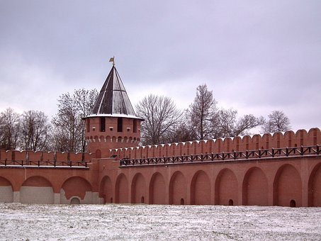 Fortress, Tower, Fence, Wall, Brick, Day, Partly Cloudy