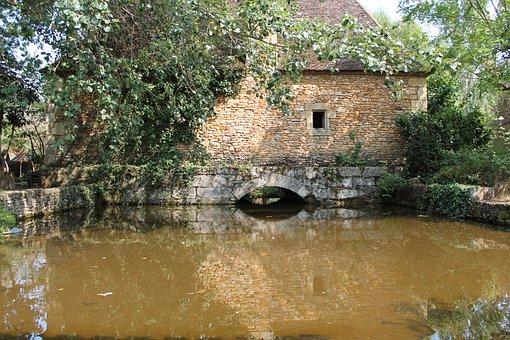 The Bournat, Dordogne, Pierre, Water, Stone Wall