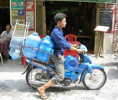 Transport, Scooter, Water, Viet Nam, Balance