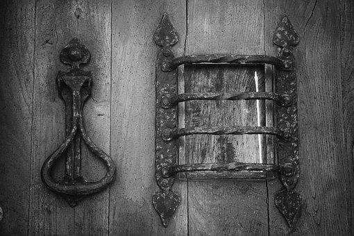 Door, Wrought Iron, Metal, Knocker, Wooden Door, Forged