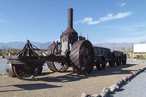 Steam Tractor, Ore Wagon, Antique, Vintage, Mining