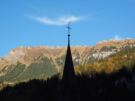 Lauterbrunnen, Switzerland, Church, Steeple, Spire