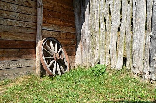 Cart-wheel, The Middle Ages, Village, Former Farm, Car