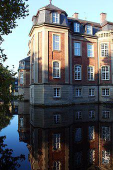 Moated Castle, Castle, Münsterland, Mirroring, Sunny
