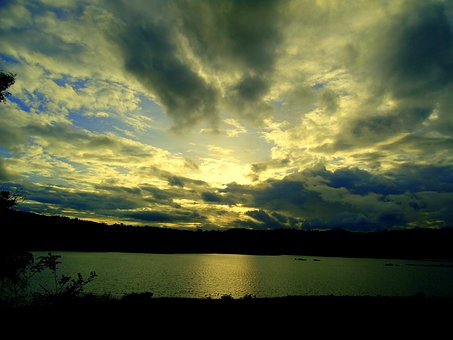 Dusk, Sky, Clouds, Summer, Setting, Landscape, Sunrays