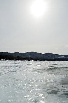 Winter, Baikal, Snow, Water, Sky, Siberia, Russia