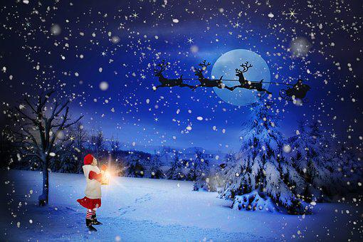 Christmas Eve, Santa Over Moon, Holiday, Santa, Claus