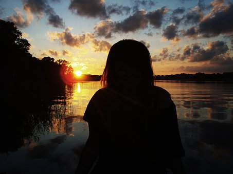 Human, Person, Girl, Sunset, Water, Brandenburg