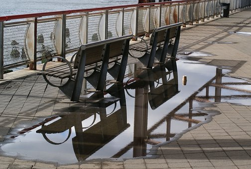 Puddle, Abstract, Benches, Bench, Water, Wet, River