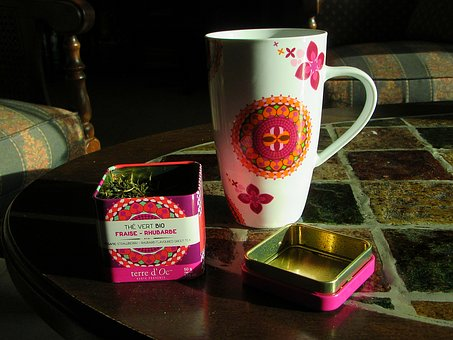 Cup, Mug, Tea, Tea Leaves, Tin, Porcelain