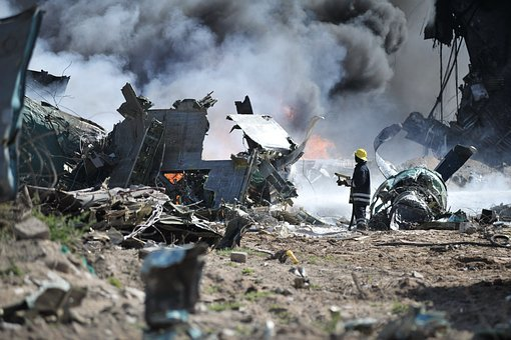Accident, Crash, Debris, Dust, Explosion, Fire, Fireman