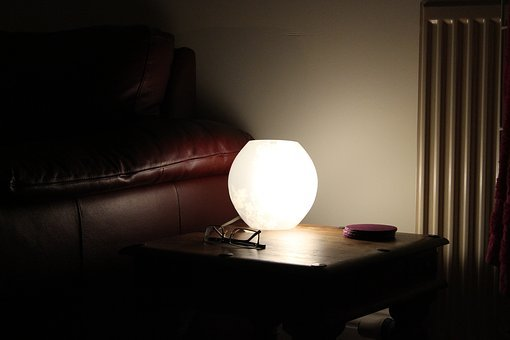 Lamp, Light, Sofa, Home, House, Room, Night, Glasses