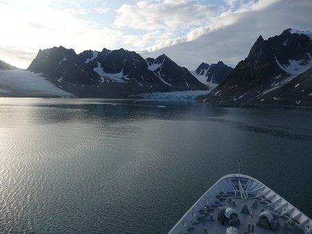 Glacier, Ship, Svalbard, Scenery, Winter, Sea, Ice