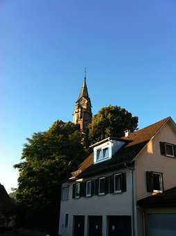 Church, Steeple, Schwäbisch Hall, Catherine, Sky, Blue