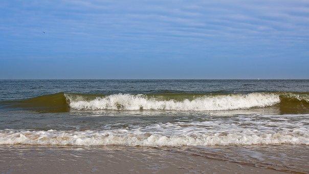 Wave, Beach, Water, Sky, Blue, Sea, Foam, North Sea