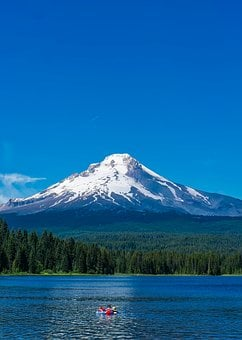 Trillium Lake, Water, Reflections, Raft, Summer