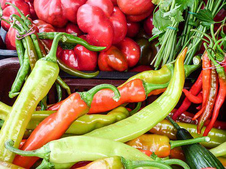 Pepper, Spice, Market, Plant, Red, Green, Food