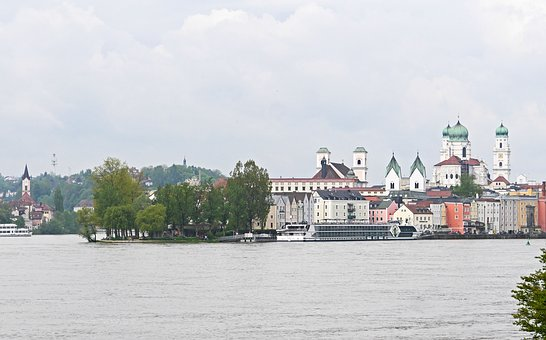 Passau, Peninsula, Church Steeples, Danube, Inn