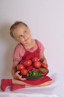 Girl, Child, Vegetables, Smile, Agriculture, Natural