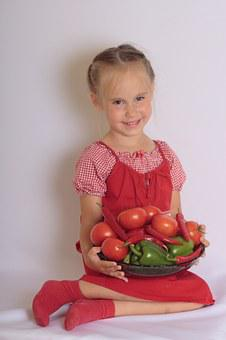 Girl, Child, Vegetables, Smile, Agriculture, Natural