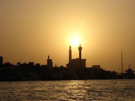 Dubai, Sunset, Orient, Building, Minaret, Sea