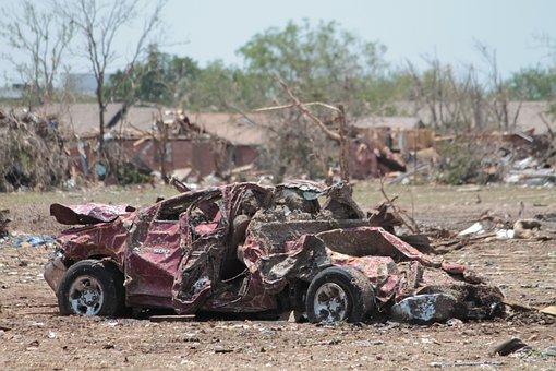 Car, Vehicle, Damaged, Moore, Oklahoma, Tornado