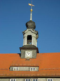 Oederan, Town Hall, Tower, Architecture, Clock