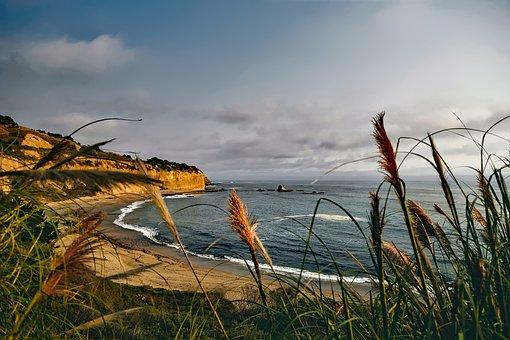 California, Coastline, Beach, Sand, Sea, Ocean, Seaside