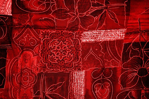 Background, Patchwork, Flowers, Red, Fabric, Surface