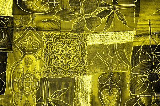Background, Patchwork, Flowers, Yellow, Fabric, Surface