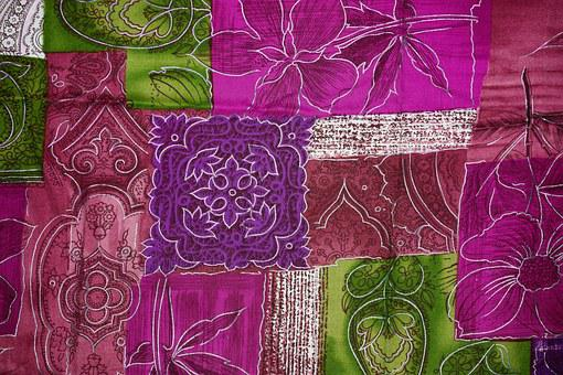 Background, Patchwork, Flowers, Purple, Violet, Green