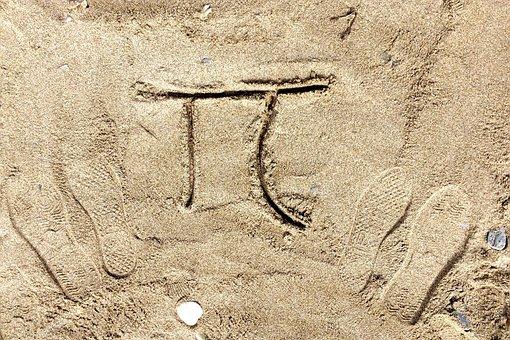 Number, Pi, Symbol, Sand, Drawing, Beach, Footprint