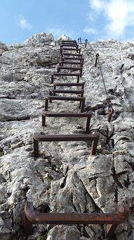 Climbing, Alpspitze, Head, Ladder Rungs, Kicks