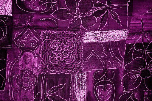Background, Patchwork, Flowers, Magenta, Purple, Fabric